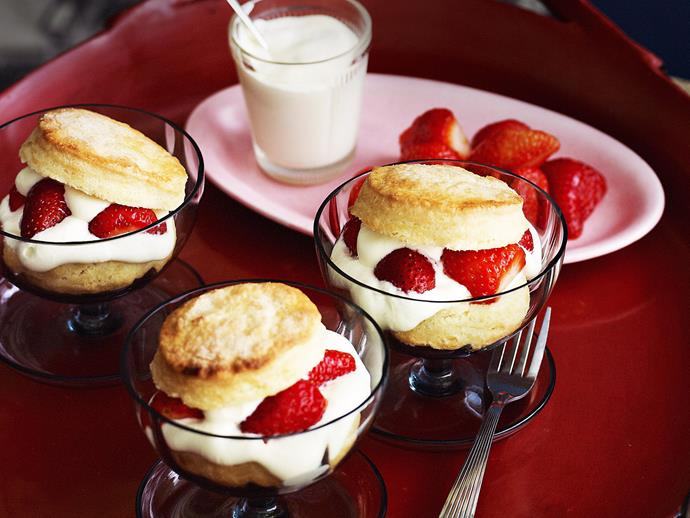 "**[Strawberry shortcakes](https://www.womensweeklyfood.com.au/recipes/strawberry-shortcakes-26629|target=""_blank"")**  These berrylicious fluffy shortcakes present like scones with cream in a glass. Whip them up for a crowd-pleasing dessert."
