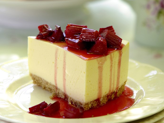 Summer Lemon Cheesecake with Sticky Rhubarb Topping