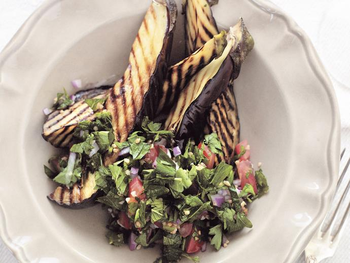"""**[Tabouli with char-grilled eggplant](https://www.womensweeklyfood.com.au/recipes/tabouli-with-char-grilled-eggplant-26634