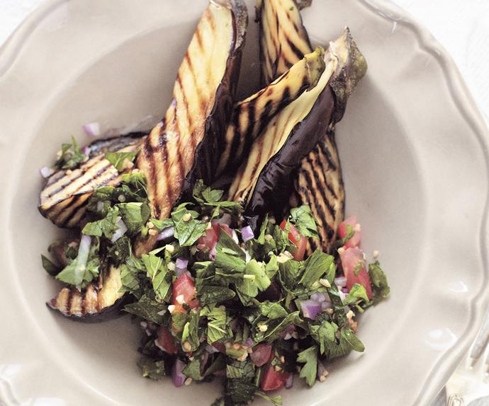 Tabouli with char-grilled eggplant