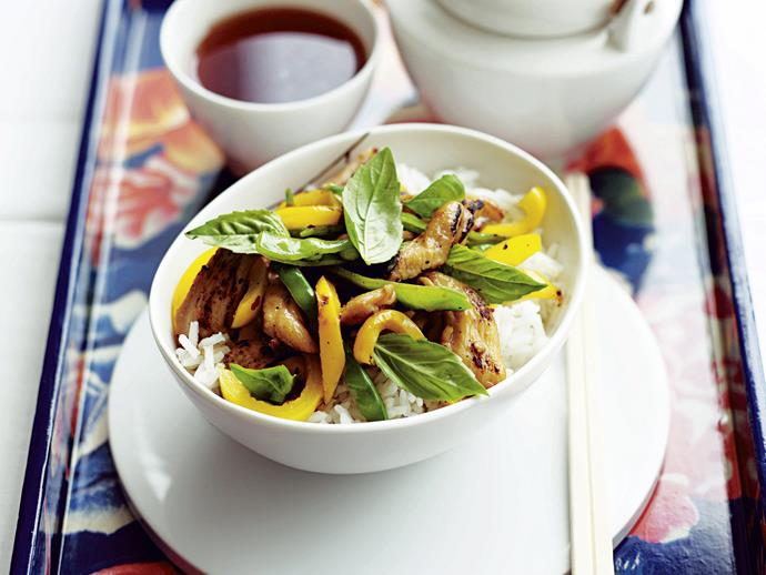 "**[Thai basil, chicken and snow pea stir-fry](https://www.womensweeklyfood.com.au/recipes/thai-basil-chicken-and-snow-pea-stir-fry-26635|target=""_blank"")**  This aromatic and easy to prepare classic thai stir-fry is able to tingle the senses at any lunch or dinner time."