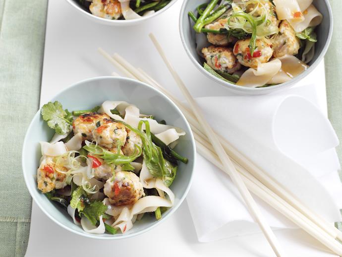 "**[Thai turkey meatballs with spicy rice noodles](https://www.womensweeklyfood.com.au/recipes/thai-turkey-meatballs-with-spicy-rice-noodles-23325|target=""_blank"")**"