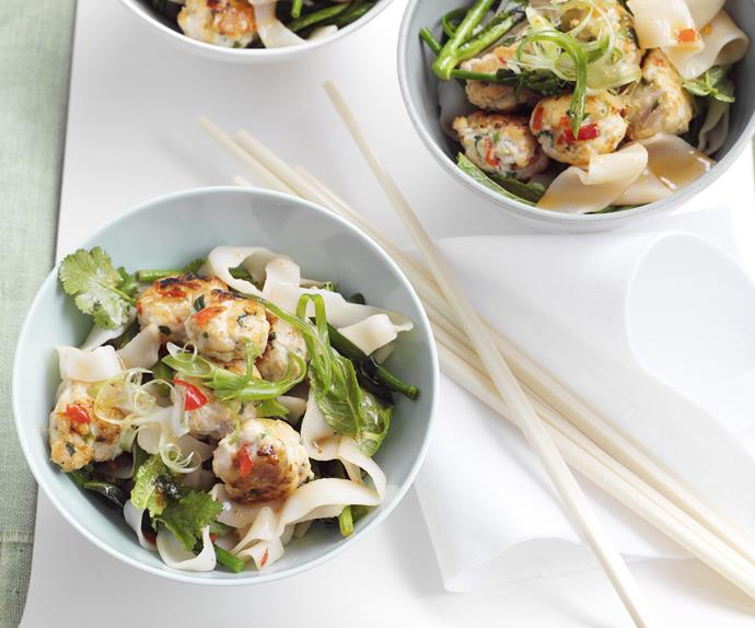 Thai Turkey Meatballs with Spicy Rice Noodles