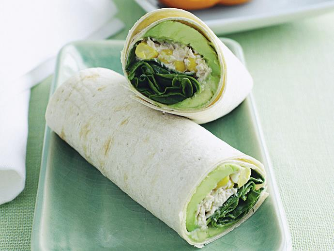"**[Tuna and sweet corn crisp wrap](https://www.womensweeklyfood.com.au/recipes/tuna-and-sweet-corn-crisp-wrap-26638|target=""_blank"")**  Sharpen the mind over lunch by enjoying this quick combination of spinach, avocado, tuna and corn wrapped in wholemeal lavash."