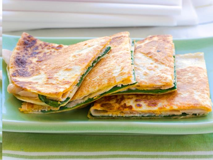 """Enjoy the best of Mexican cuisine with these delicious quesadillas. Just pop these [turkey-filled tortillas](http://www.womensweeklyfood.com.au/recipes/turkey-quesadillas-27872