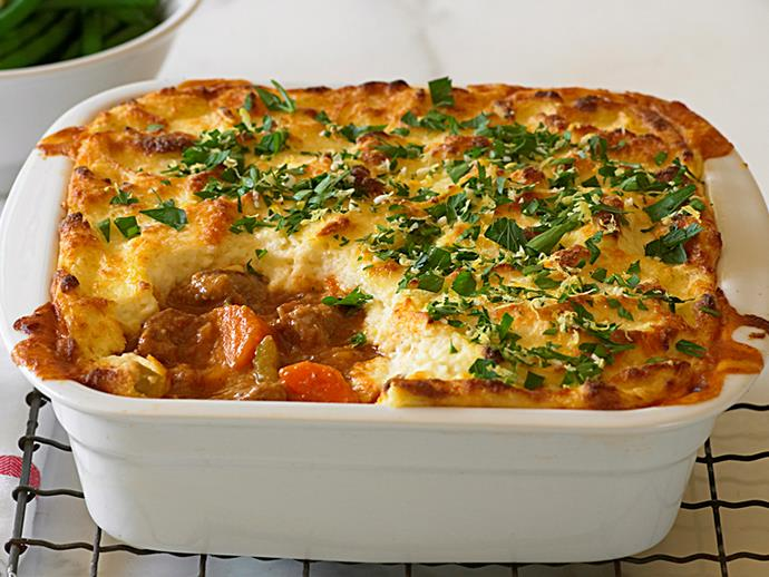 """**[Veal pie with cheesy semolina topping](https://www.womensweeklyfood.com.au/recipes/veal-pie-with-cheesy-semolina-topping-28434