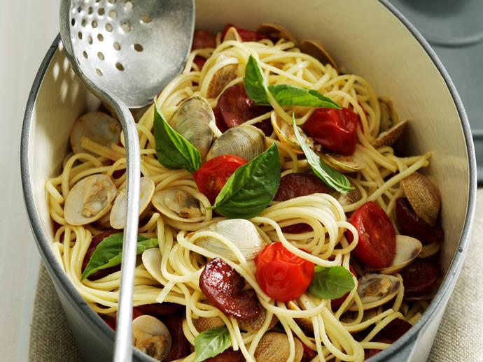 """**[Vongole and chorizo linguine](https://www.womensweeklyfood.com.au/recipes/vongole-and-chorizo-linguine-27883