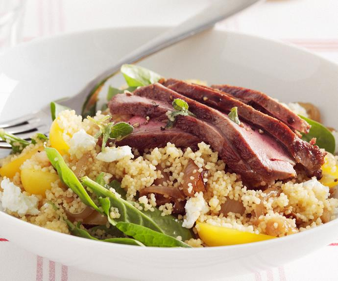WARM LAMB COUSCOUS SALAD WITH BABY SPINACH