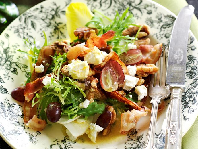 """**[Warm salad of bacon, goat's cheese and grapes](https://womensweeklyfood.com.au/recipes/warm-salad-of-bacon-goats-cheese-and-grapes-26644 target=""""_blank"""")**  This colourful, contemporary salad is a meal in itself or a crunchy side."""