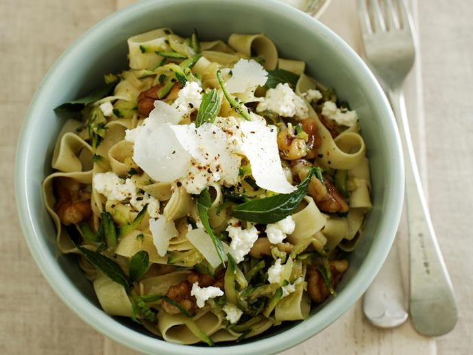 """**[Zucchini, walnut and ricotta fettuccine](https://www.womensweeklyfood.com.au/recipes/zucchini-walnut-and-ricotta-fettuccine-28155