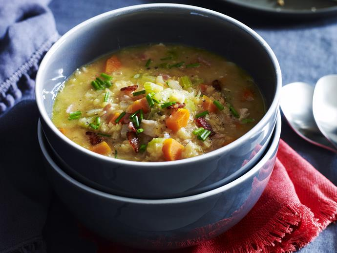 """**[Hearty bacon, lentil and vegetable soup](https://www.womensweeklyfood.com.au/recipes/hearty-bacon-lentil-and-vegetable-soup-26652 target=""""_blank"""")**  A healthy meal has never been easier than with this effortless soup. Bacon adds a crisp, salty flavour while carrots, celery and lentils pack this meal with nutrition."""