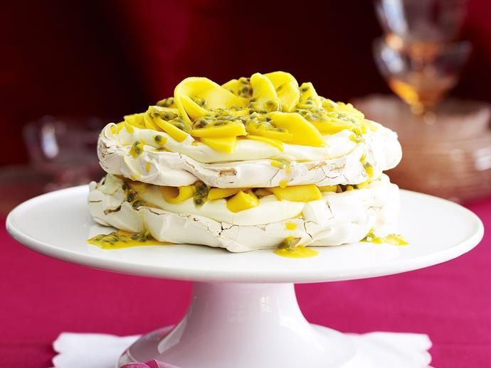 "**[Mango and passionfruit meringue cake](https://www.womensweeklyfood.com.au/recipes/mango-and-passionfruit-meringue-cake-23342|target=""_blank"")**"