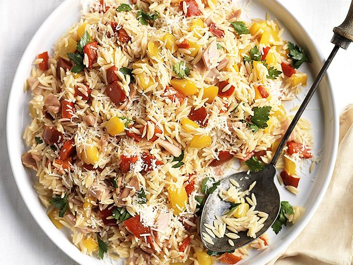 """**[Risoni with ham and capsicum](https://www.womensweeklyfood.com.au/recipes/risoni-with-ham-and-capsicum-23344