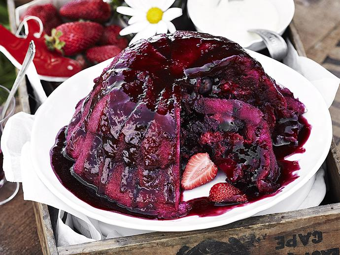 "Designed as a healthier alternative to heavier desserts, the [summer pudding](https://www.womensweeklyfood.com.au/recipes/summer-pudding-23346|target=""_blank"") gets its vibrant colour and tangy flavour from a selection of berries. Best served with thick cream or ice-cream."
