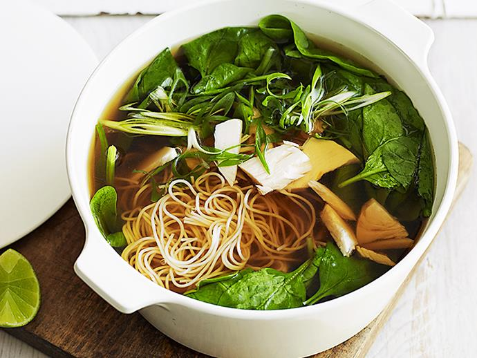 "**[Turkey and noodle soup](https://www.womensweeklyfood.com.au/recipes/turkey-and-noodle-soup-23347|target=""_blank"")**"