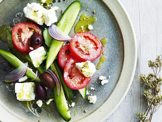"**[Ultimate Greek salad](https://www.womensweeklyfood.com.au/recipes/ultimate-greek-salad-28349|target=""_blank"")**  Light, fresh and brimming with flavour."