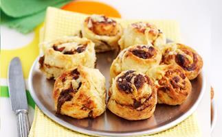 Mini vegemite and cheese scrolls