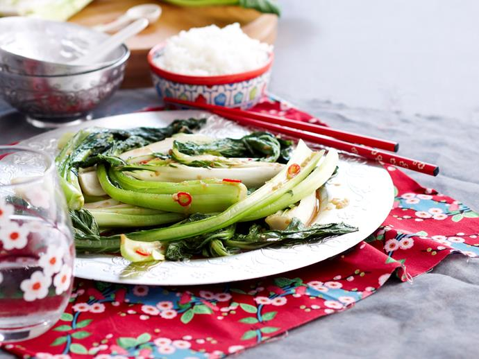 """**[Mixed Asian greens in oyster sauce](https://www.womensweeklyfood.com.au/recipes/mixed-asian-greens-in-oyster-sauce-25446 target=""""_blank"""")**"""