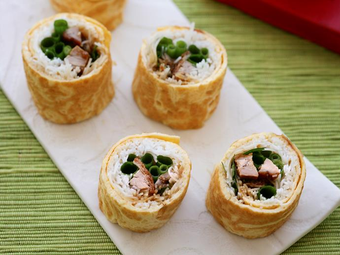 """[Duck and noodle egg rolls](https://www.womensweeklyfood.com.au/recipes/duck-and-noodle-egg-rolls-25454 target=""""_blank"""")"""