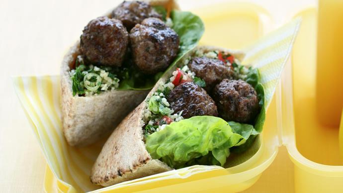 Meatball and Tabouli Pitas