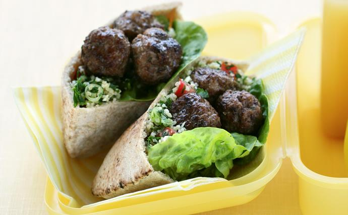 Meatball and Tabouli Pitas