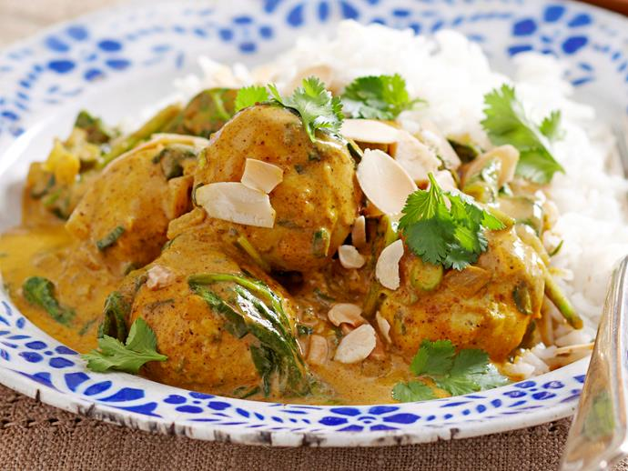 "**[Turkey meatball korma](https://www.womensweeklyfood.com.au/recipes/turkey-meatball-korma-16458|target=""_blank"")**"