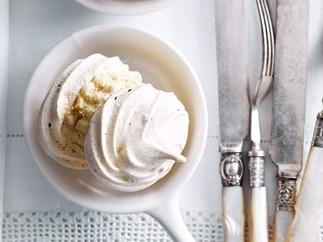 Coffee meringue and ice-cream kisses