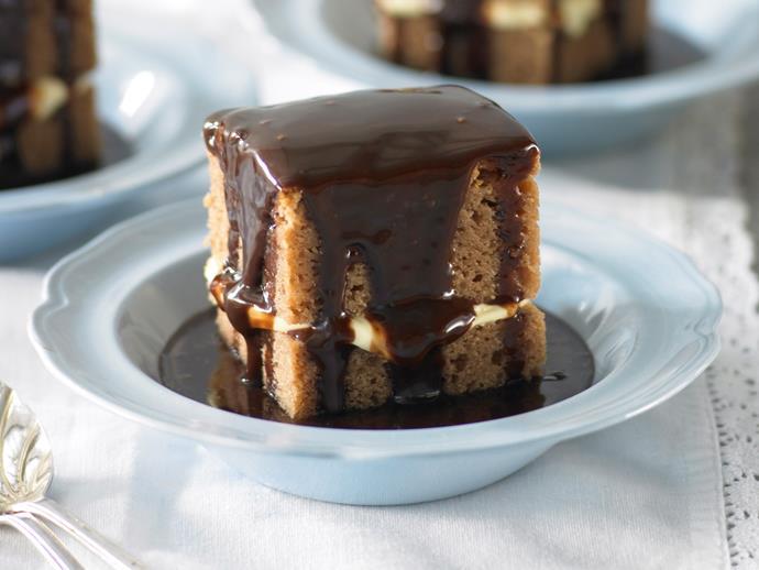 "**[Milk chocolate mud cake with hot fudge sauce](https://www.womensweeklyfood.com.au/recipes/milk-chocolate-mud-cake-with-hot-fudge-sauce-25473|target=""_blank"")**"
