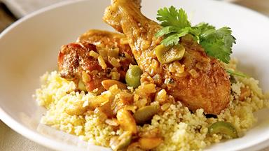 Moroccan-style chicken with buttered couscous