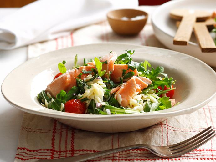 """**[Poached salmon with asaparagus, rocket and risoni salad](https://www.womensweeklyfood.com.au/recipes/poached-salmon-with-asaparagus-rocket-and-risoni-salad-25475