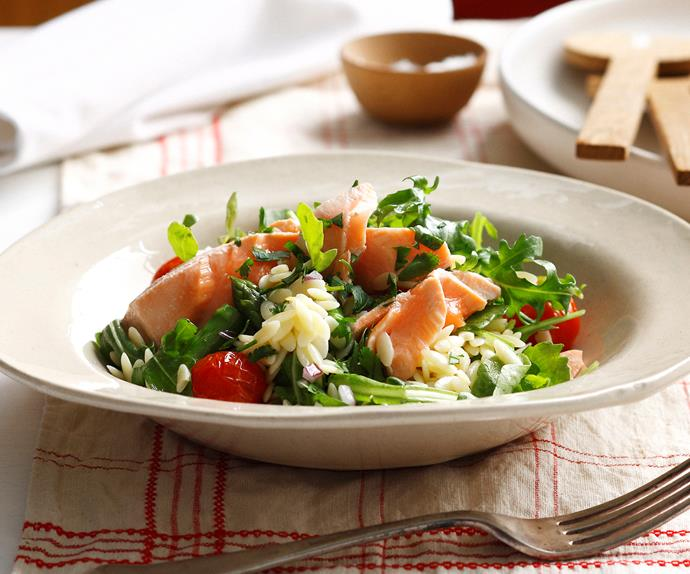 Poached Salmon with Asaparagus, Rocket and Risoni Salad