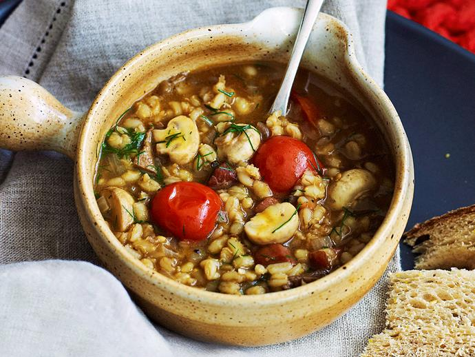 """**[Porcini, pancetta and barley soup with dill](https://www.womensweeklyfood.com.au/recipes/porcini-pancetta-and-barley-soup-with-dill-25476