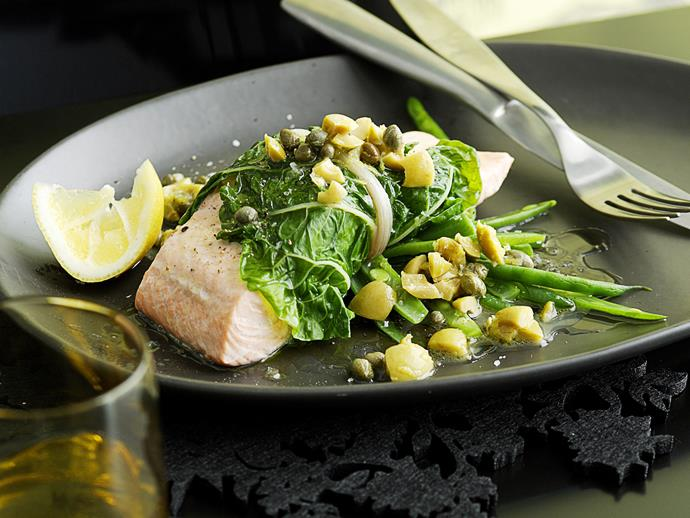 "**[Steamed salmon in silverbeet with lemon and olive sauce](https://www.womensweeklyfood.com.au/recipes/steamed-salmon-in-silverbeet-with-lemon-and-olive-sauce-25478|target=""_blank"")**"