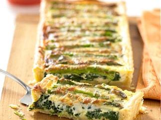 asparagus, gruyere and spinach quiche