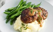 Beef rissoles and mash