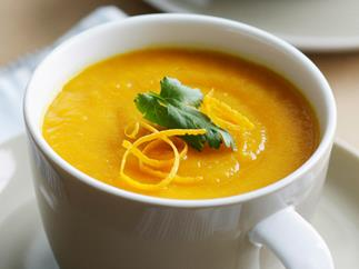 Carrot, orange and ginger soup