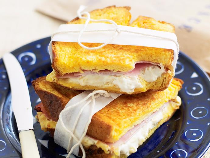 "[**Croque-monsieur:**](http://www.womensweeklyfood.com.au/recipes/croque-monsieur-26667|target=""_blank"") Melted, oozy cheese and tasty leg-ham is sandwiched between thick slices of fluffy, buttery brioche and baked to perfection. Is it lunchtime yet?"