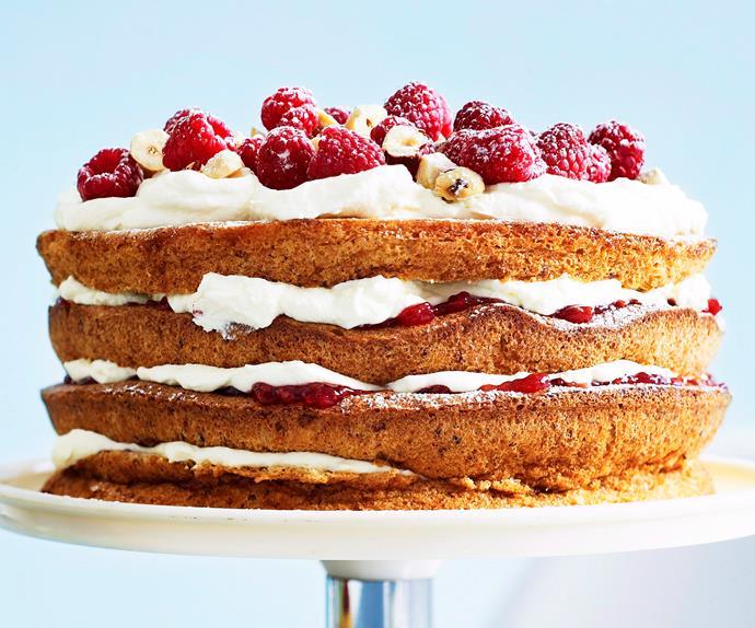 Danish hazelnut torte with raspberry jam