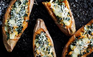 Kumara Baked with Silverbeet and Mozzarella