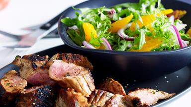 Marmalade pork fillet with orange salad