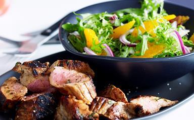 Marmalade pork fillet with orange salad