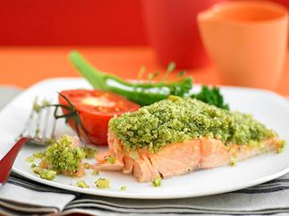 pesto-crusted salmon with tomato and broccolini