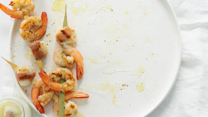 prawn and scallop skewers with aioli