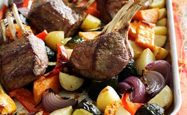 Roasted lamb rack and vegetables