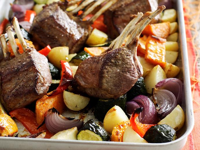 "**[Roasted lamb rack and vegetables](https://www.womensweeklyfood.com.au/recipes/roasted-lamb-rack-and-vegetables-23529|target=""_blank"")**  This easy one-pan dinner makes the perfect no-fuss weekend meal in cooler weather."