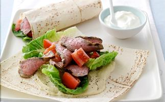 Spiced Beef and Hummus Wraps