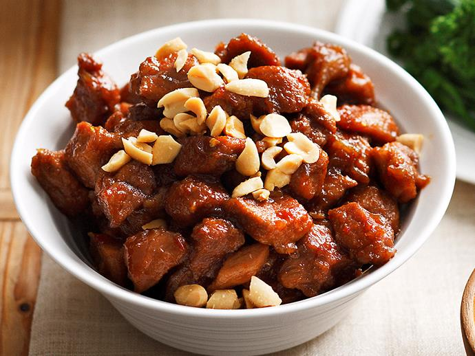 """**Sticky caramelised pork:** Sticky sweet pork is delicious on its own, but topped with crunchy, salted peanuts, the dish is elevated to an even tastier level. **[Get the recipe here.](https://www.womensweeklyfood.com.au/recipes/sticky-caramelised-pork-22967