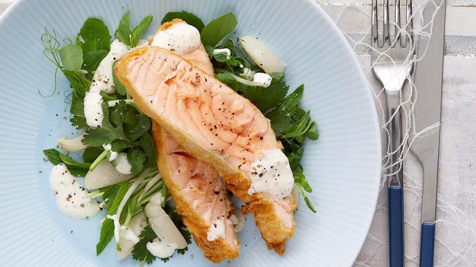 Tempura Salmon and lychee salad