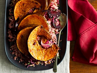Balsamic-roasted pumpkin with beetroot quinoa