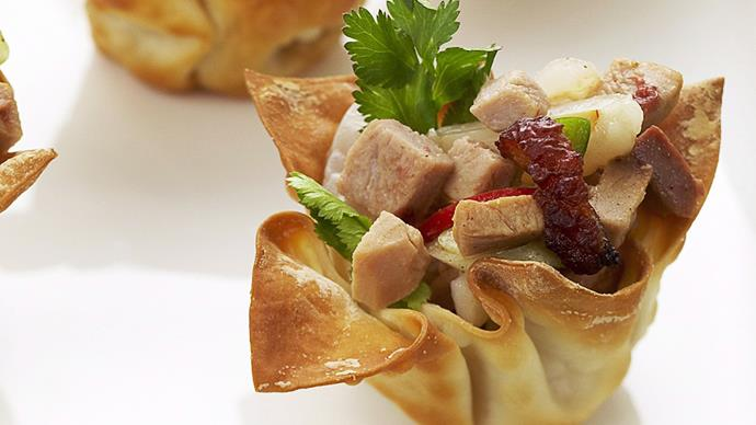 Barbecued duck and lychee in wonton cases